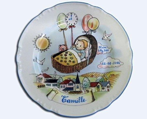 Assiette naissance - Personnalisée - Décor Ballon