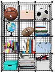 Meerveil Armoire Penderie Portable, Etagère De Rangement, Cubes De Stockage Modulaire en Plastique en Métal Stable, Assemblage Facile pour Vêtements, Accessoires, Jouets