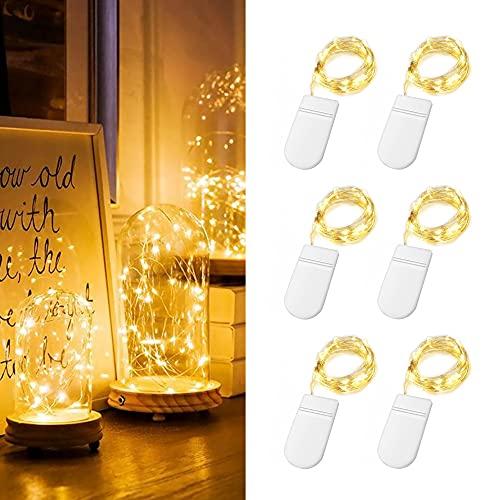 Luces LED con pilas, 6 luces LED decorativas 2M 20LED, cable LED...