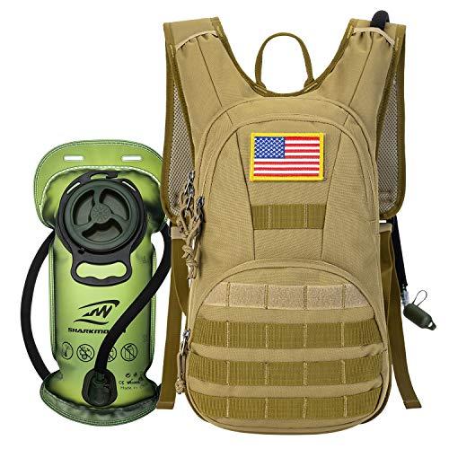 SHARKMOUTH Trinkrucksack, taktischer Molle-Trinkrucksack, 900D, mit 2 l BPA-freier Trinkblase, Militär-Tagesrucksack für Laufen, Wandern, Radfahren, Klettern, Jagd und Training, Bräune