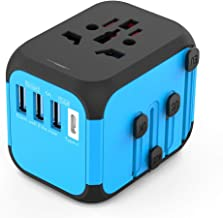 Universal Travel Adapter,International Power Adapter, All-in-One Worldwide Travel Charger Power Plug Adapter with 3 USB + 1 Type C Charging Ports for USA UK AUS European 200 Countries(Black&Blue)