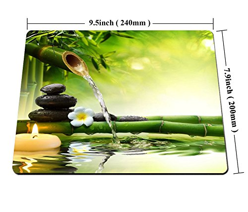 Smooffly Nature Gaming Mouse Pad,Spa Stones in Garden with Flow Water Mouse Pad Personality Desings Gaming Mouse Pad Zen Garden Theme Magical Jasmine Flower Japanese Design Photo #6