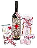 STEINBECK Mama Geschenk zum Muttertag Geschenkset Wein von Herzen Alles Liebe Geburtstag Schokolade Fruchtgummi süß Mitgebsel Geschenkkorb beste Mami 5er Set