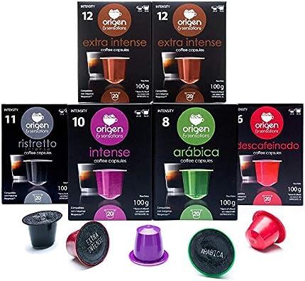 124 Cápsulas Nespresso Surtido Compatibles con Máquinas Nespresso - 40 + 4 capsulas de regalo Extra Intense, 20 Ristretto, 20 Intense, 20 Arabica, 20 Decaf