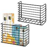 mDesign Farmhouse Metal Wire Wall & Cabinet Door Mount Kitchen Storage Organizer Basket Rack - Mount to Walls and Cabinet Doors in Kitchen, Pantry, and Under Sink - 2 Pack - Black