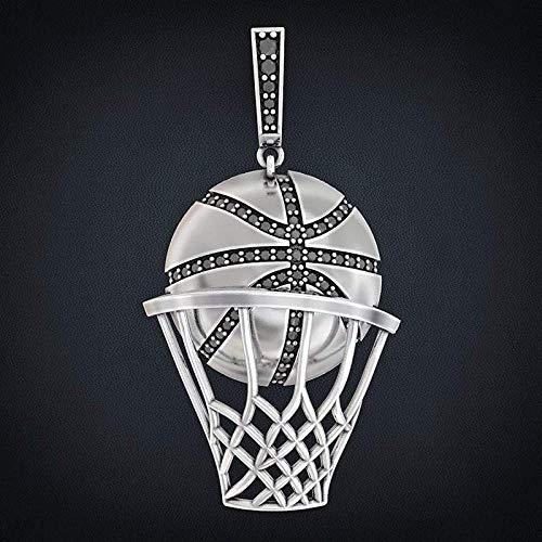 NC110 Collar con Colgante de Baloncesto con Incrustaciones de Diamantes de imitación Austriaco, Collar de Hombre, Reloj de Moda, Accesorios de joyería de Metal, Regalo de Fiesta de Hip Hop YUAHJIGE