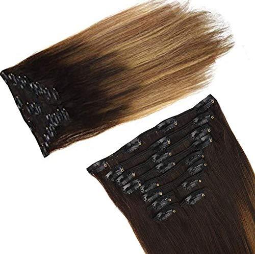 LaaVoo 16 Pulgada Balayage Ombre Extensiones Clip de Cabello Natural Full Head 100Gramo/Set 10Pcs Clip on Hair Extensions Easy Fit (el Marron mas Oscuro a Marron Medio y Marron Dorado #2/6/12)