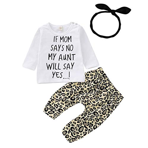 Newborn Baby Girl Leopard Clothes My Mom Say No Letter White Top...