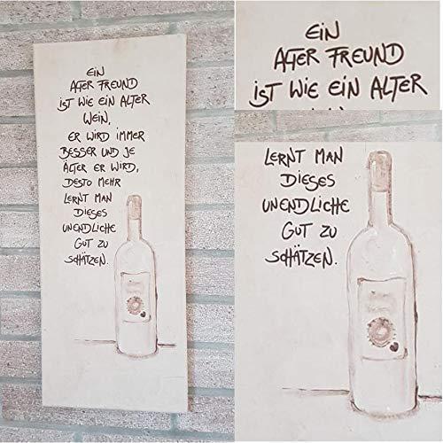 Ein alter Freund/individualisierbar/frei Hand gestaltet/Einzelstück/Leinwand/Bild/Persönliches Geschenk/Freund/Männer/Leben/Whiskey/Wein/Grappa/Wodka/Spruch/Familie