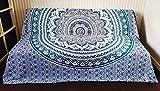 Goods4good Decoración Hogar Mandala Elefante Árbol de la Vida Multi usos Pareo Playa Colcha Cama Sofa Tapices Pared 210x240cm 100% Algodón India (Azul Turquesa)