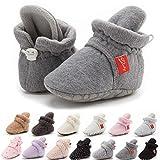BiBeGoiInfantBabyGirls Boys Cotton Booties Soft Non-Slip Sole Winter Warm Cozy Stay On Socks Newborn Toddler First Walkers Crib Shoes