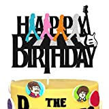 Rock and Roll Cake Topper for Let's Party Musical Notes Music Drums Guitar Themed Happy Birthday Sign Party Supplies Black Glitter Decorations
