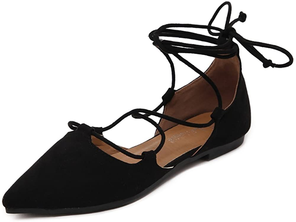 Meeshine Womens D'Orsay Pointy Toe All stores are sold Ballet Wrap Time sale Ankle Flats Strap