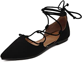 Meeshine Womens D'Orsay Pointy Toe Ankle Strap Wrap Ballet Flats Lace Up Flat Shoes