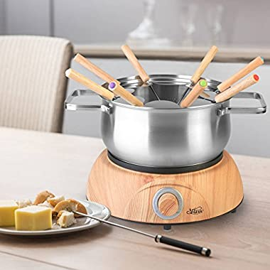 Artestia Electric Chocolate & Cheese Fondue Set, Serve 8 persons (Stainless Steel Pot, Wood Pattern Base)