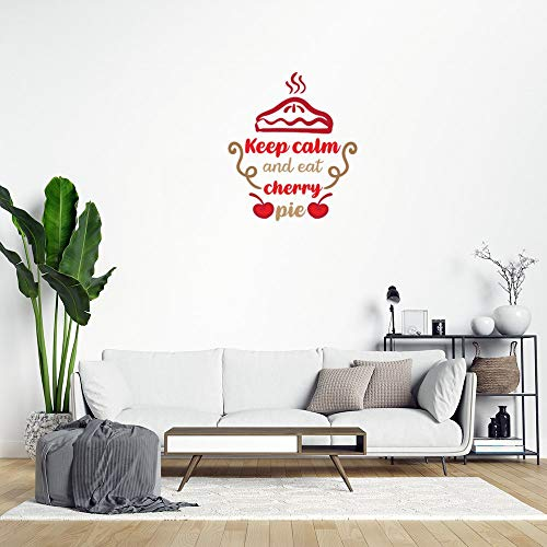Sticker mural multicolore avec inscription « Keep Calm and Eat Cherry Pie-Red Fruits » pour chambre d'enfant ou d'adolescent