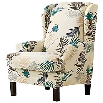 Sellmore2015 Wingback Chair Slipcovers 2Pcs/Set Stretchy Wing Armchair Covers Leaves Printed Detachable Universal Chair Slipcover Sofa Covers Furniture Protector Machine Washable  Beige Wingchair