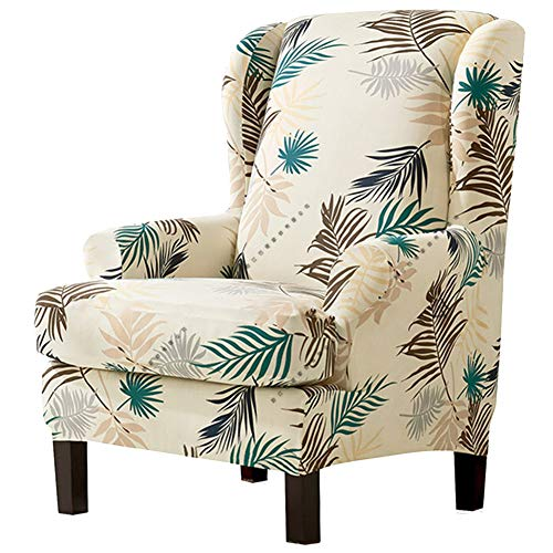 HINMAY 2 Pieces Stretch Wing Chair Slipcover,Wingback Armchair Chair Slipcovers Sofa Covers,Leaves Printed Wing back Chair Slipcovers