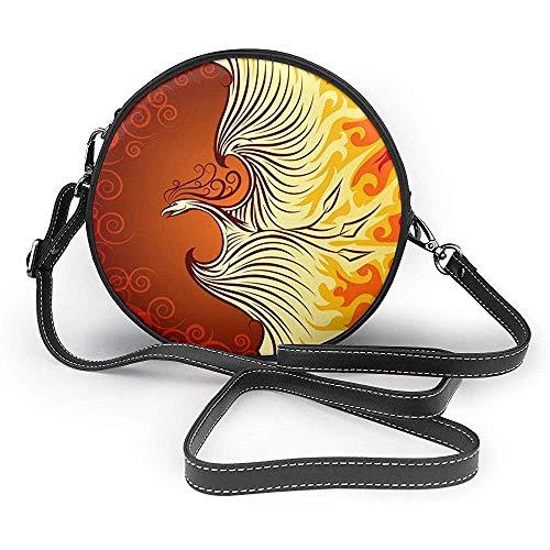 TURFED la criatura mítica manera de la impresión redonda PU Crossbody del bolso de hombro Ronda bolsa para muchachas de las mujeres