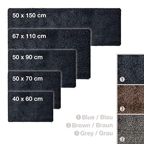 Schmutzfangmatte, Fußmatte Blau - Schwarz • 39x58cm • Ultra saugstarke und rutschfeste Fußmatte aus Mikrofaser • sehr dünn passt unter fast jede Türe für Innen und Außen, waschbar