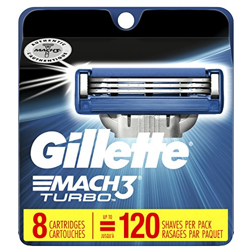 Gillette Mach3 Turbo Men's Razor Blade Refills, 8 Count