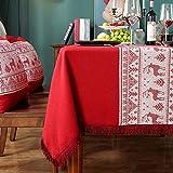 WHDJSPIN Manteles de Navidad, Mantel Rectangular Rojo con Diseño de Ciervo Navideño Antideslizante y No se Desvanece para el Festival (A2 140 * 180CM)