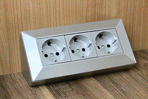 Eck-Steckdose Aufbaumontage 3x Schuko, für Küche, Büro, Werkstatt. 3-Fach-Steckdosenleiste ideal für Küchen-Arbeitsplatte, Aufbausteckdose oder Unterbausteckdose (3 Schuko grau)