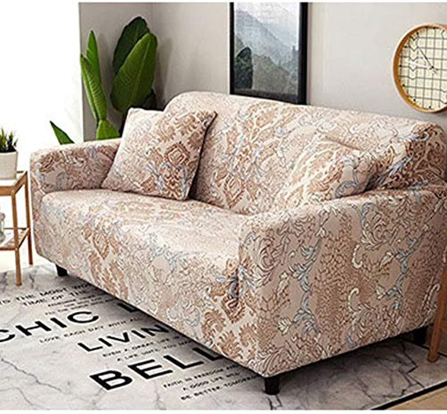 Farmerly Elastic Combination Sofa Cover Printed Flowers Full Package Wrap Corner Sofa Cover Stretch Furniture Covers 1 2 3 4 Seater   Northern Europe, 90-140cm
