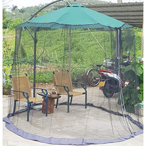 DINHAND Black 7.5-11ft Outdoor Patio Table Umbrella Mosquito Netting, Double Zipper Doors, Canopy Umbrella Net Cantilever Offset Hanging Market Umbrellas w/Tilt Screen Mesh, Balcony Umbrella Cover