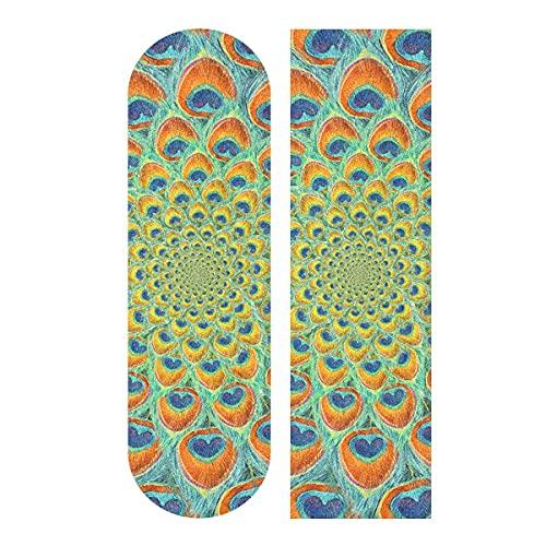 Cerchio sfondo Piuma Pavone Skateboard Grip Tape, Longboard Griptape, Scooter Grip Tape, Carta vetrata per Rollerboard, scale, pedale, sedia a rotelle, gradini, 1 foglio