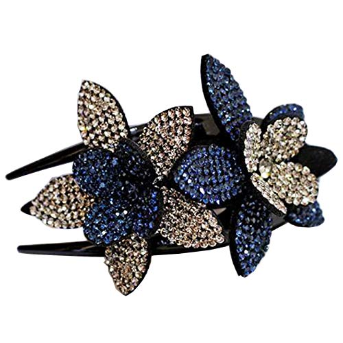 Haarspange für Damen, mit Strasssteinen, Doppelblumen-Motiv, elegant, mit Schwalbenschwanz, Blau