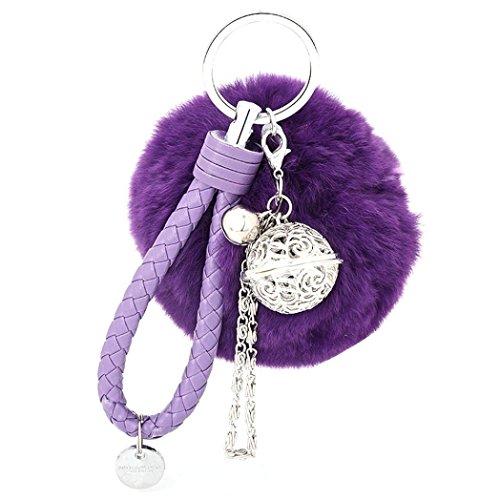 Ularma Elegant Plüsch Ball Schlüsselanhänger Weich Keychain Handtaschenanhänger Dekor (lila)