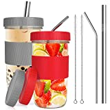Wide Mouth Mason Jars Cups 2 Pack Reusable Smoothie Cups with Lids and Straws Boba Cup Large Glass...