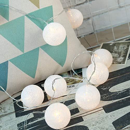 Lichterkette mit Baumwoll-Kugeln, 20 Lampions, Pastellfarben, Baumwollkugeln leuchtend mit Batterie, 330 cm lang, Lichterdeko (Weiß 20er Set)