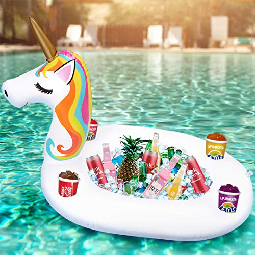Inflatable Unicorn Serving Bar Ice Buffet Cooler Salad Food Drink Holder Floats Beverage Fruit Candy Floating Tray Pool Accessories for Adults Picnic BBQ Party Supplies