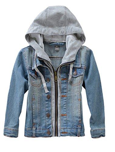 Mallimoda Kids Boys Girls Hooded Denim Jacket Zipper Coat Outerwear Denim 9-10 Years