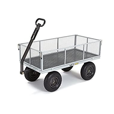 Gorilla Carts GOR1001-COM Heavy-Duty Steel Utility Cart with Removable Sides, 1000-lbs. Capacity, Gray