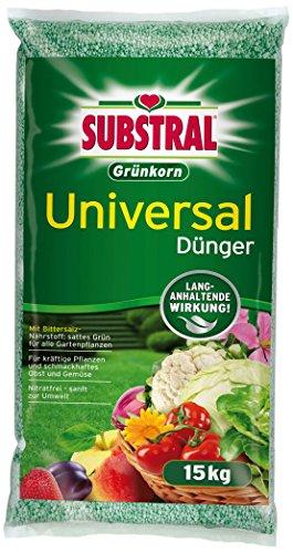 Substral Grünkorn Universaldünger, Hochwertiger, nitratfreier Gartendünger für Blumen, Sträucher, Koniferen, Gemüse, Obst und Rasen mit langanhaltender Wirkung - 15 kg Sack