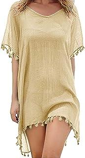 qianqianq Womens Swimsuits Kaftan Chiffon Top Mini Tassel Beach Dress Cover Ups