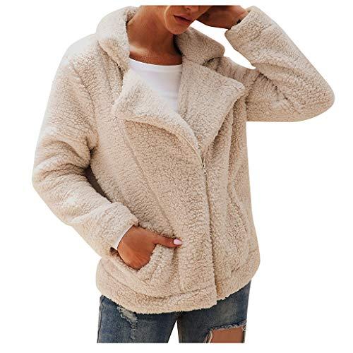 Sumeiwilly Damen Kurz Mantel Plüschjacke Damen Teddy-Fleece Mantel V-Ausschnitt Langarm Tasche Herbst Winter