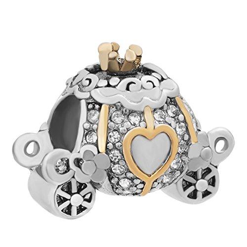 jewelryhouse Halloween Pumpkin Carriage Golden Corazón cuentas colgantes para pulsera