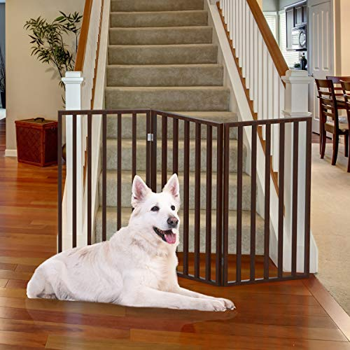 PETMAKER Wooden Pet Gate- Tall Freestanding 3-Panel Indoor Barrier Fence, Lightweight & Foldable for Dogs, Puppies, Pets- 54 X32 (Dark Brown)