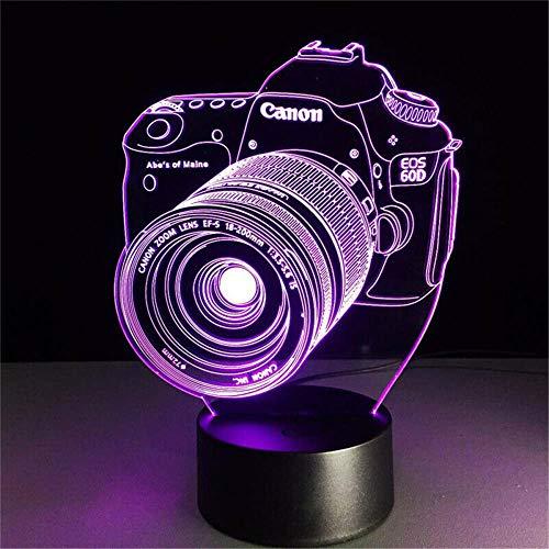 Lámpara 3D de la cámara de la ilusión 3D, regulable, control táctil, luz de brillo para la decoración del hogar y regalos para los amantes, padres, amigos