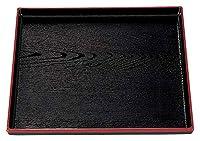 (A)正角木目盆 黒天朱 尺2寸 [ 36.7 x 36.7 x 2.5cm ] [ お盆 ] | 飲食店 ホテル 旅館 和食 業務用