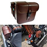 HDBUBALUS Motorcycle Saddlebags Leather Tool Bag Side Pouch Fit for Harley Yamaha Honda Kawasaki Suzuki Indian BMW Brown