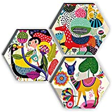 SAF Set of 3 Hexagon Kid's Room Decor Modern Art 6MM MDF UV Textured Home Decorative Gift Item 21 inch x 21 inch Painting ...