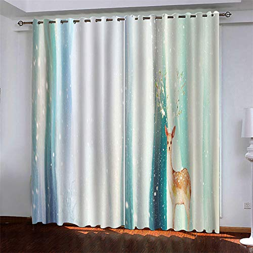 YUNSW Starry Elk Series 3D Digital Printing Polyester With Eye Curtains Garden Living Room Balcony Bedroom Window Decoration Blackout Curtains 2 Piece Set