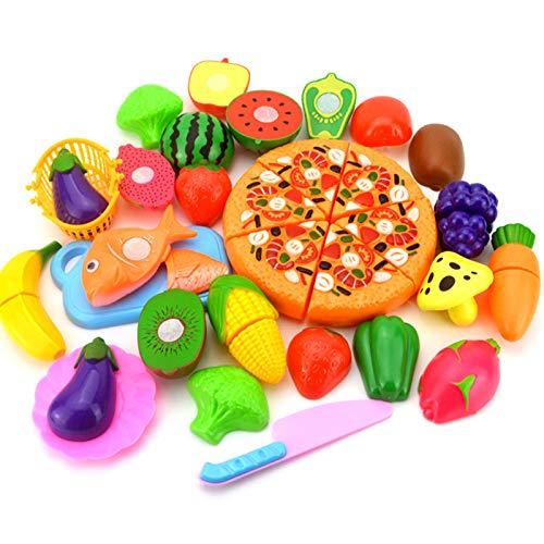 LLEH Cocina Infantil - Cortar Frutas Verduras Juguetes Madera Alimentos de Juguete Frutas y Verduras Juguete con 24 PCS Set de Cocina para Niños Niñas 3 4 5 Años+