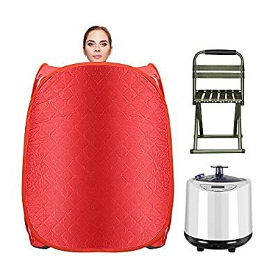 KKTECT Sauna Tent with Steamer Pot, Bigger Portable Foldable Steam Sauna Spa, 2.2L Portable Steam Sauna Spa, One Person Sauna with Remote Control, Herb Box, Foldable Chair