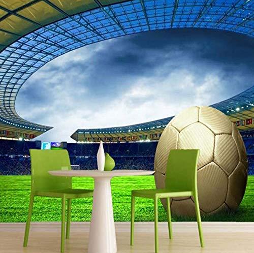 Pbbzl Gebruikergedefinieerde 3D voetbal fotobehang sport voetbal thema's stadion muurschildering behang voor woonkamer bar slaapkamer wall3D 120 x 100 cm.